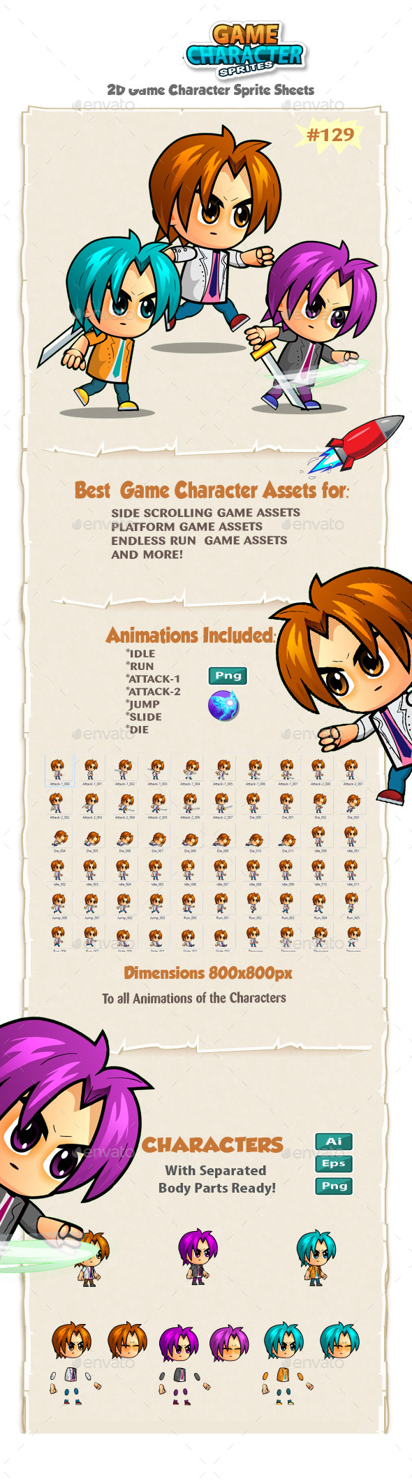 2D Game Character Sprites 129 - Sprites Game Assets