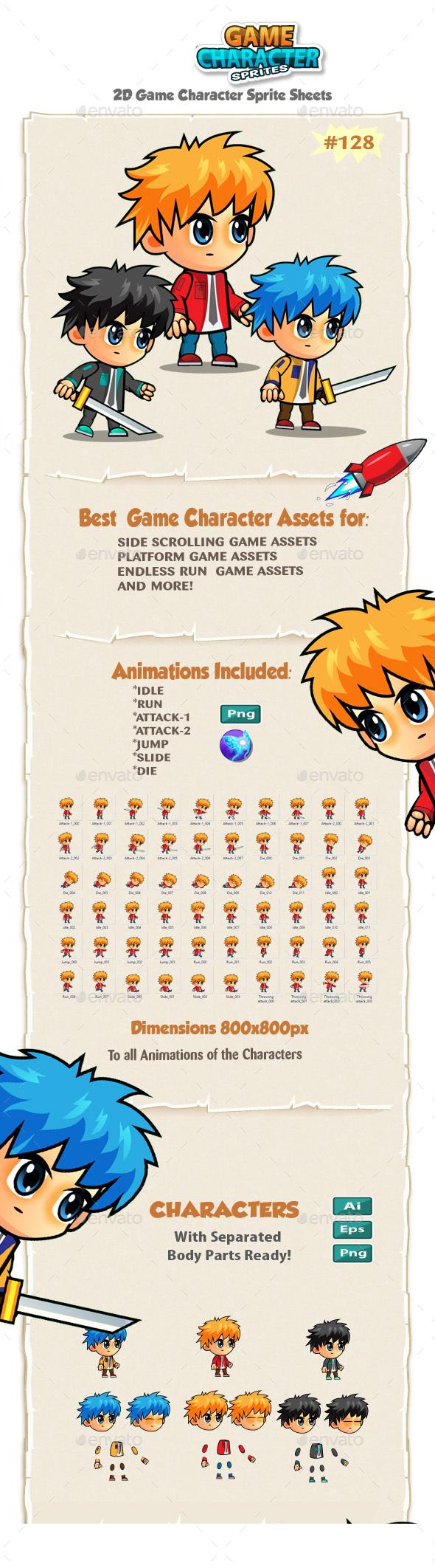 2D Game Character Sprites 128 - Sprites Game Assets