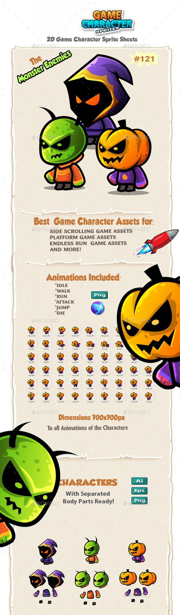 Monster Enemies 2D Game Character Sprites 121 - Sprites Game Assets