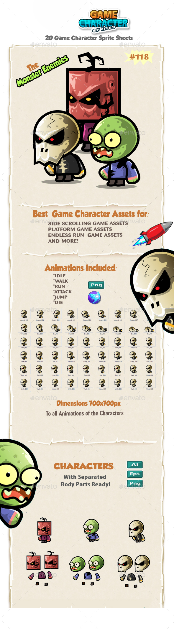 Monster Enemies 2D Game Character Sprites 118 - Sprites Game Assets