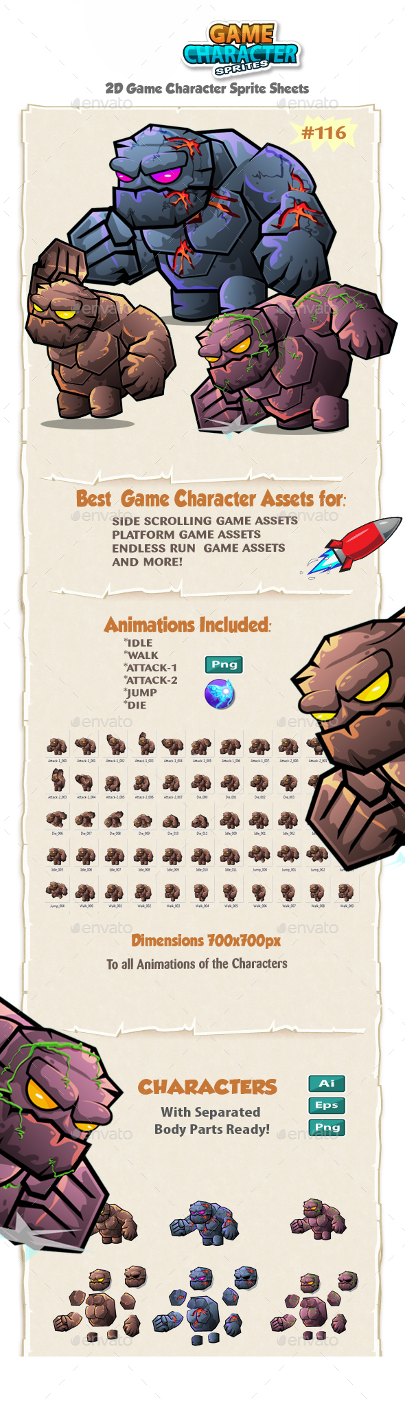 Monster Stone Giant 2D Game Character Sprites 116 - Sprites Game Assets