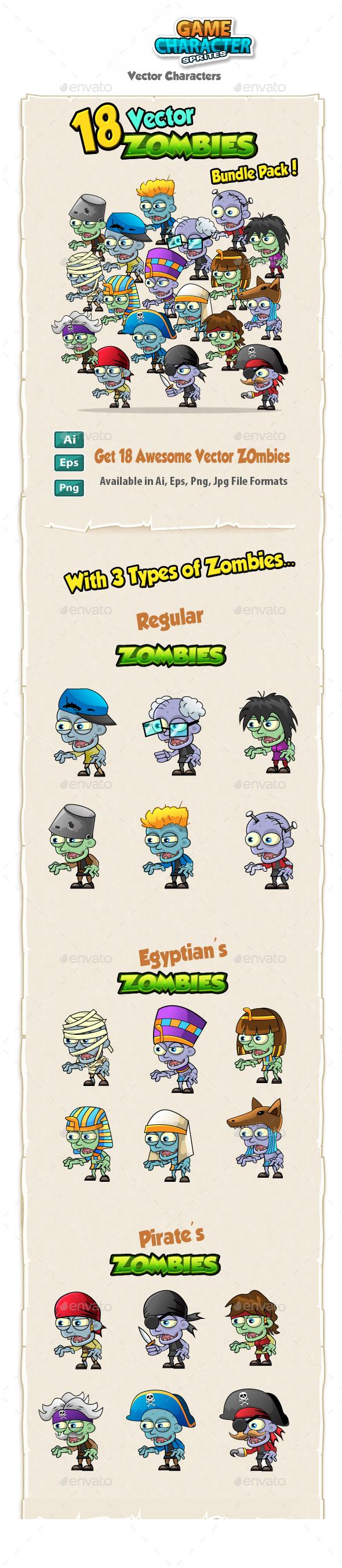 18 Vector Zombies Bundle Pack - Characters Vectors