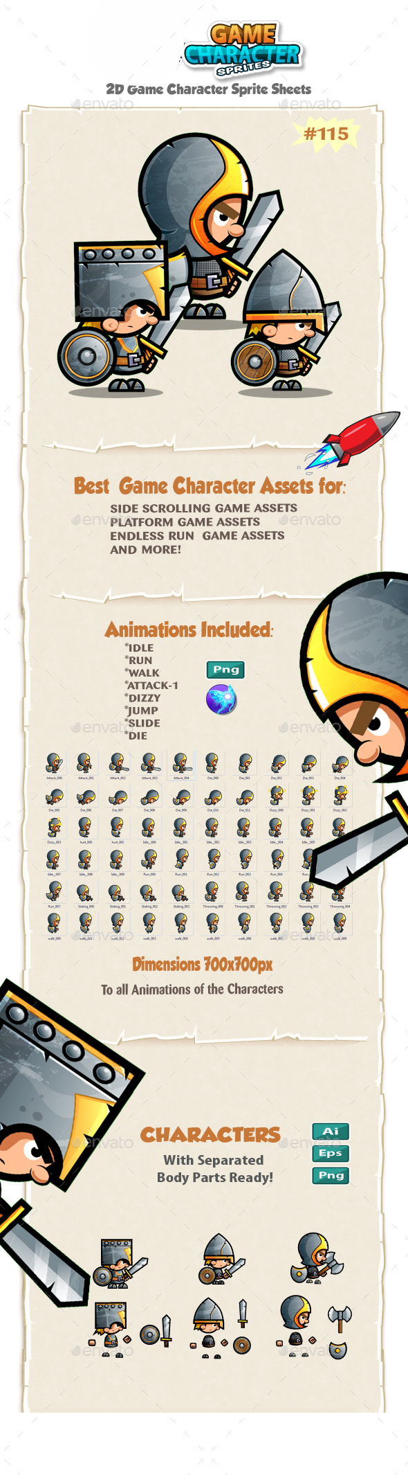 The Knights  2D Game Character Sprites 115 - Sprites Game Assets