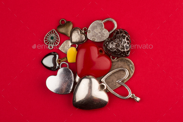 heart shaped jewelry in many colors and sizes - Stock Photo - Images
