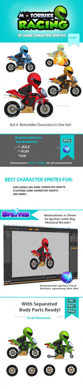Racing Motorbike 2D Game Character Sprites - Sprites Game Assets