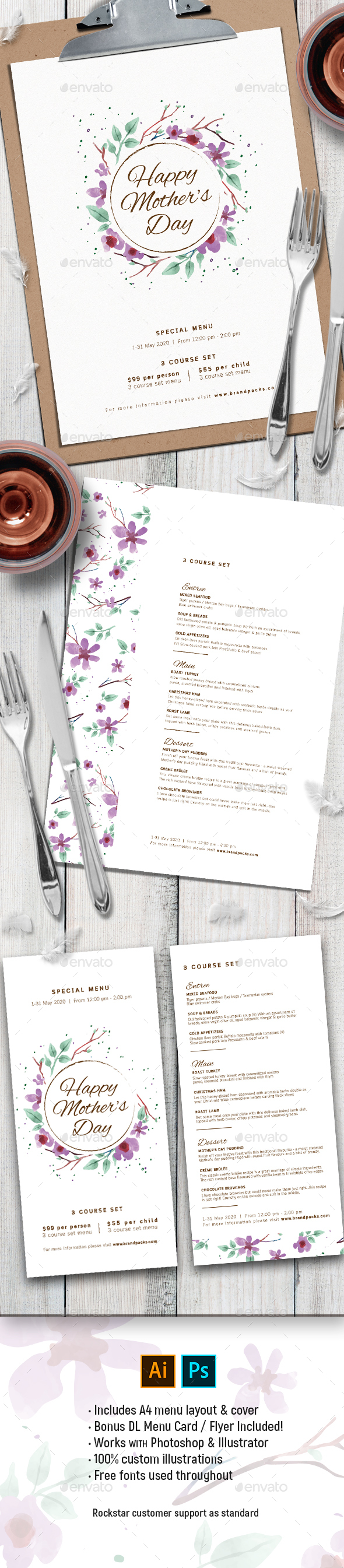 Mother's Day Menu Template - Food Menus Print Templates