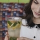 Pretty Girl Admiring with Delight of Lemonade's Serving in Cafe - VideoHive Item for Sale