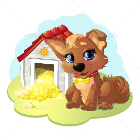 Happy Cartoon Puppy - Animals Characters