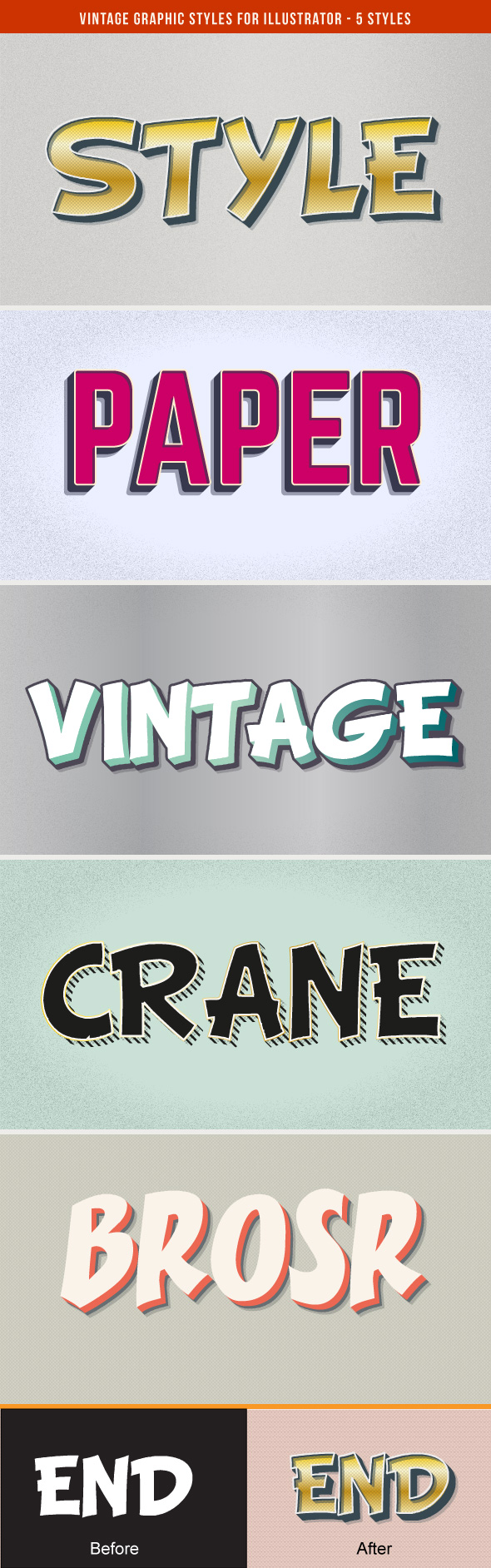Vintage Graphic Styles For Illustrator - Styles Illustrator