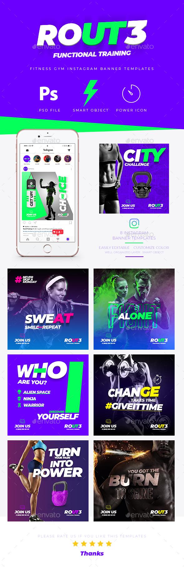 Fitness GYM Instagram Banner Templates - Social Media Web Elements