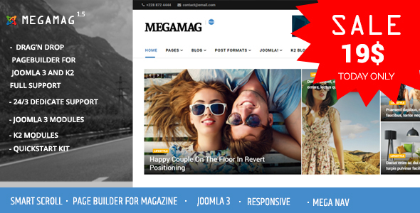 Image of Megamag - K2 Magazine and Bloging for Joomla 3 Responsive Templates