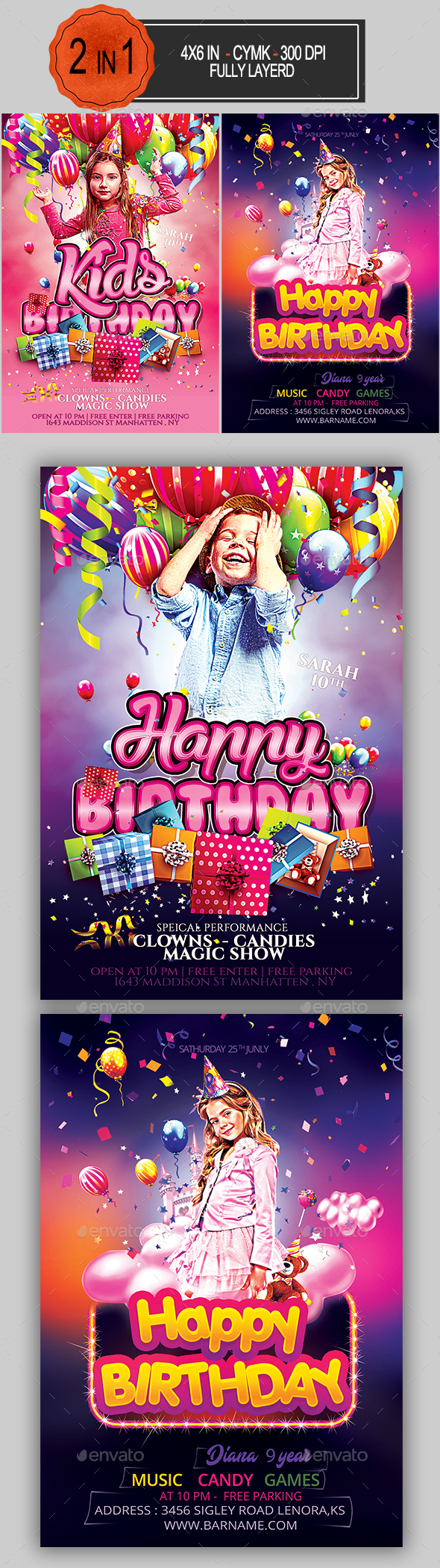 Kids Birthday Flyer Bundle - Clubs & Parties Events