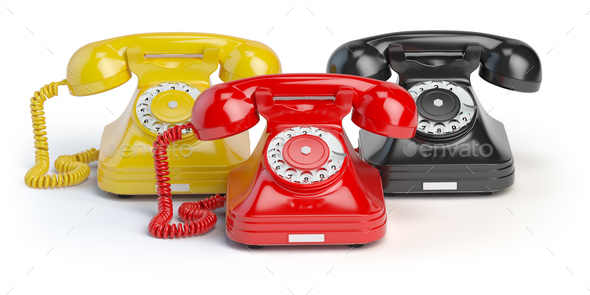 Group of  vintage telephones of differents colors isolated on wh - Stock Photo - Images