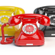 Group of  vintage telephones of differents colors isolated on wh - PhotoDune Item for Sale