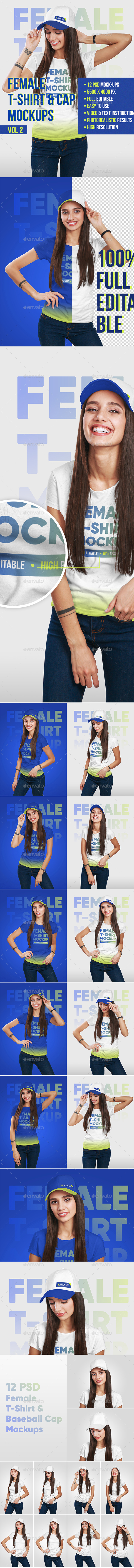 Female T-Shirt and Baseball Cap Mockup Vol2 - T-shirts Apparel