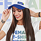 Female T-Shirt and Baseball Cap Mockup Vol2 - GraphicRiver Item for Sale
