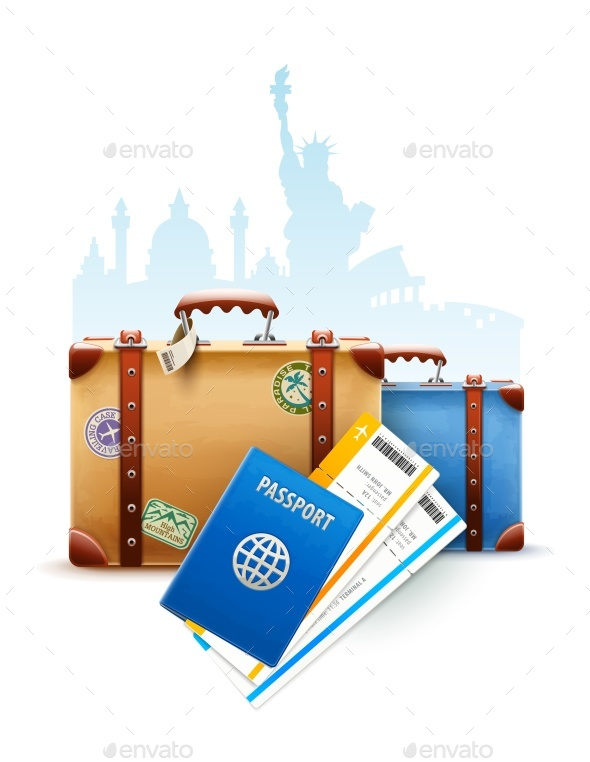 Retro Suitcases Passport and Airline Tickets - Travel Conceptual