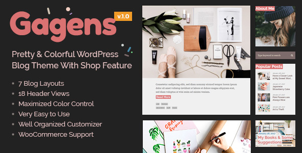 Gagens - Colorful WordPress Blog Theme - Personal Blog / Magazine