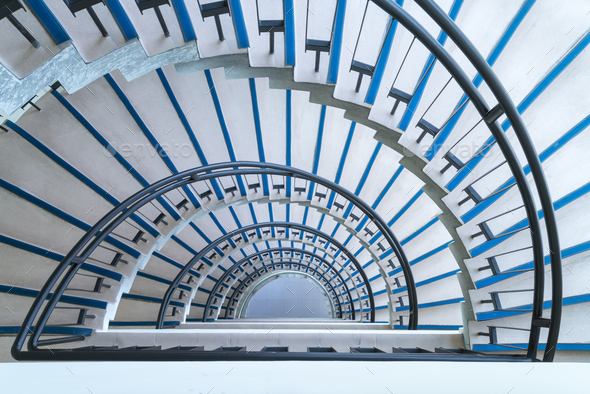semicircle spiral staircase closeup - Stock Photo - Images