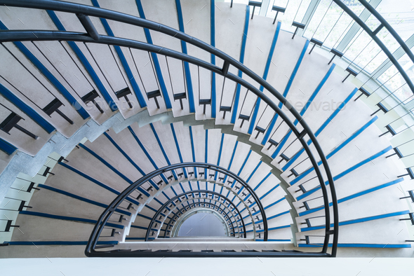 helical stairway, simple modern semicircle staircase, view from the top down - Stock Photo - Images