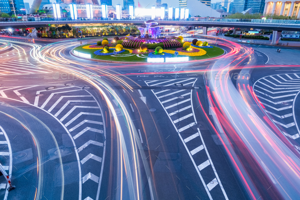 roundabout at night - Stock Photo - Images