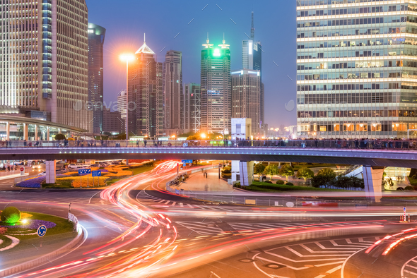 shanghai downtown in nightfall - Stock Photo - Images