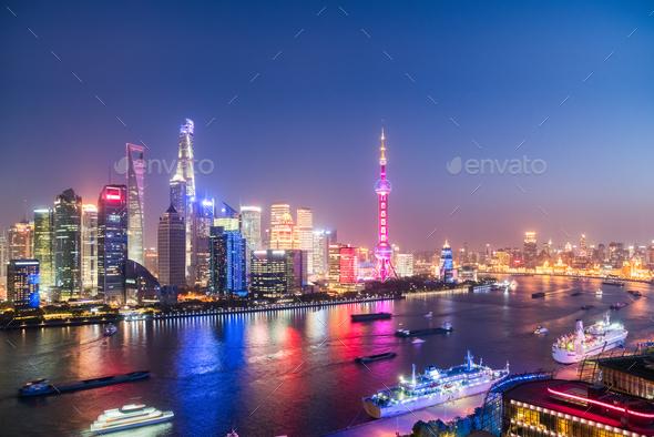 night shanghai of north bund - Stock Photo - Images