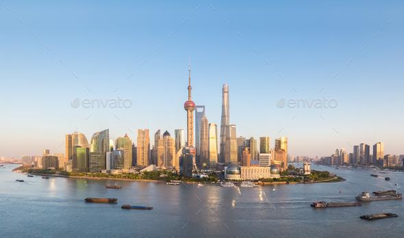 shanghai skyline at dusk - Stock Photo - Images