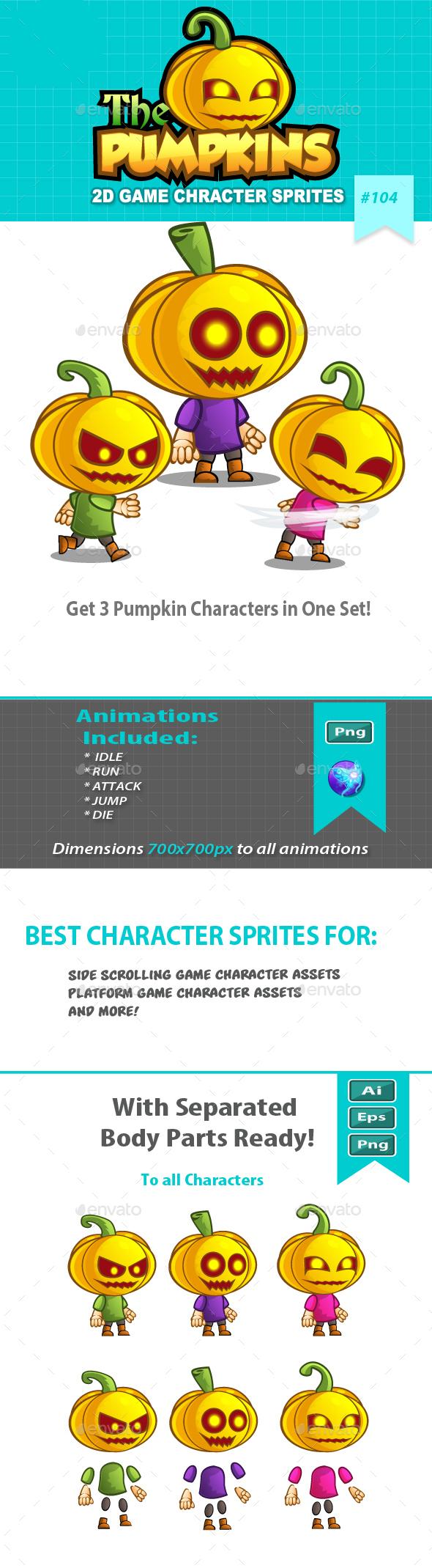 Pumpkins 2D Game Character Sprites - Sprites Game Assets