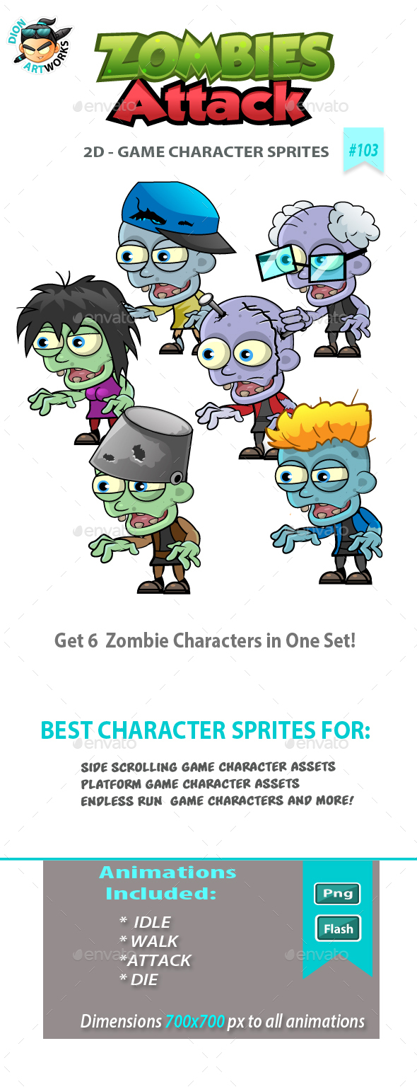 6 Zombies 2D Game Character Sprites - Sprites Game Assets