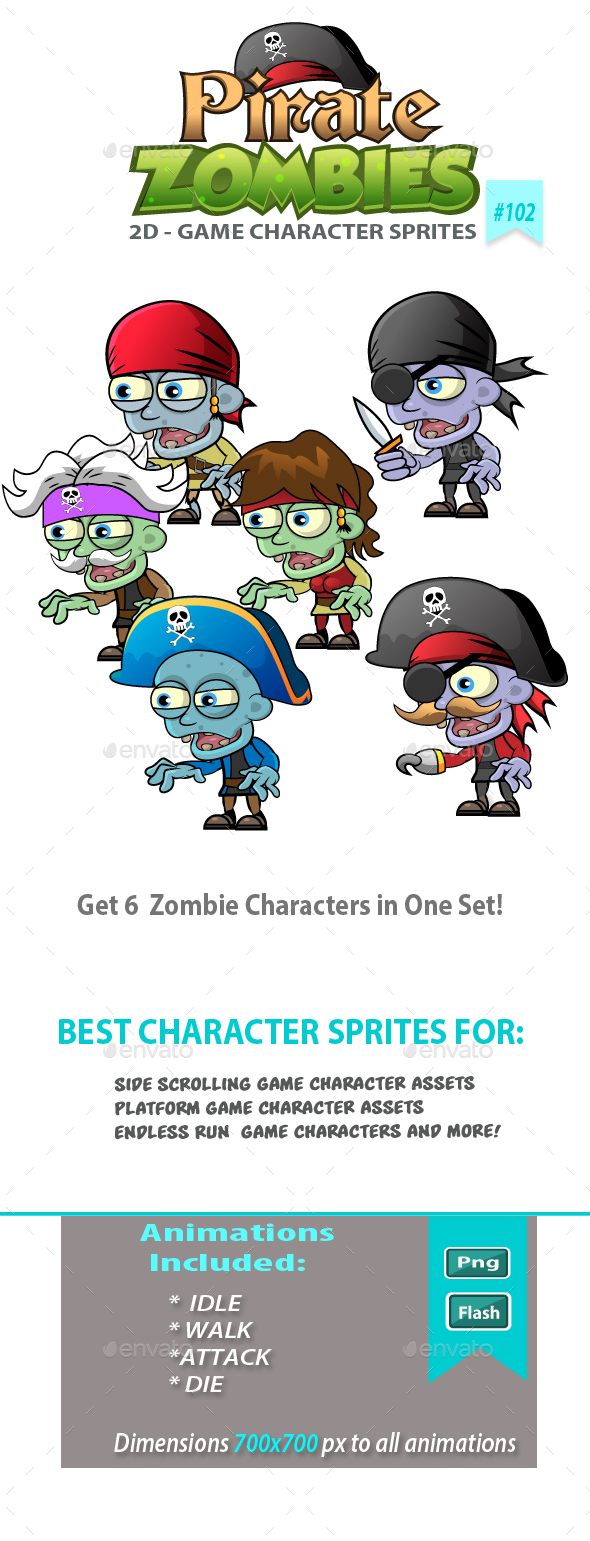 6 Pirate Zombies 2D Game Character Sprites - Sprites Game Assets