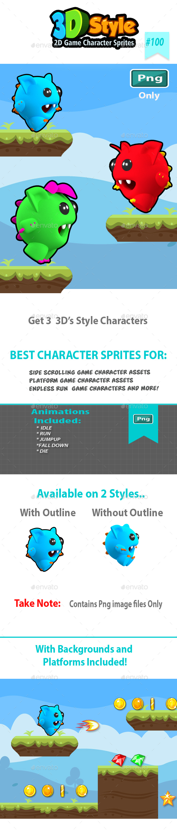 Monsters Run Game Character Sprites - Sprites Game Assets