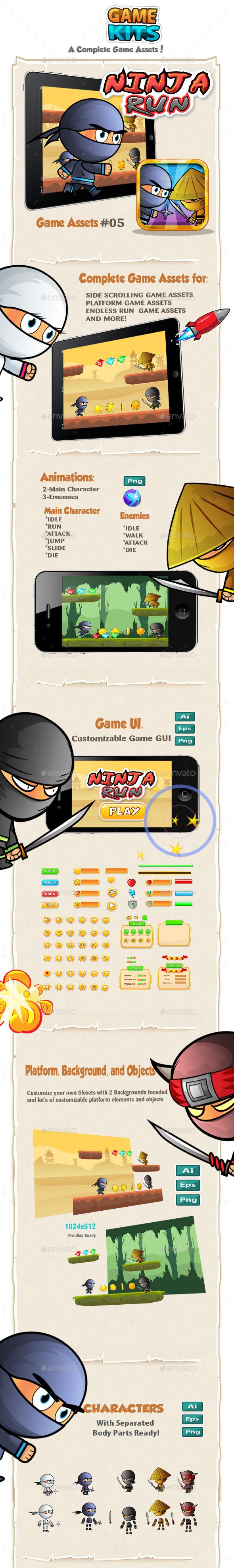 Ninja Run Game Assets - Game Kits Game Assets