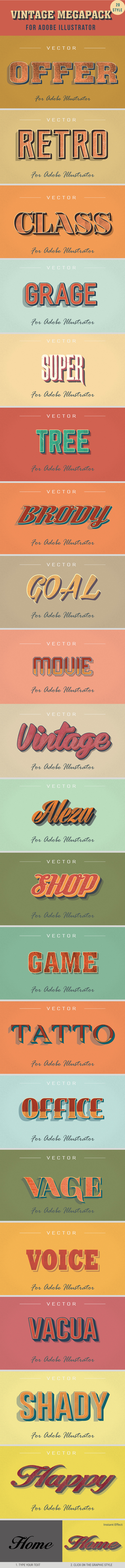 20 Vintage Styles for Illustrator - Styles Illustrator