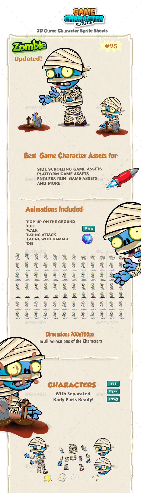 Zombie 2D Game Character Sprites 95 - Sprites Game Assets