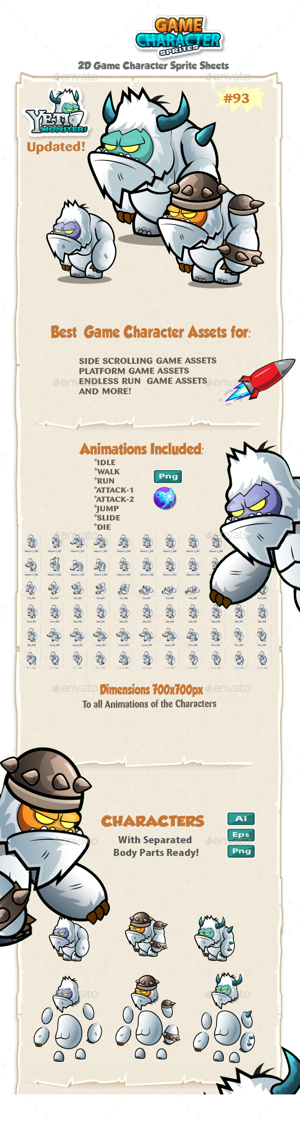 Yeti 2D Game Character Sprites 93 - Sprites Game Assets