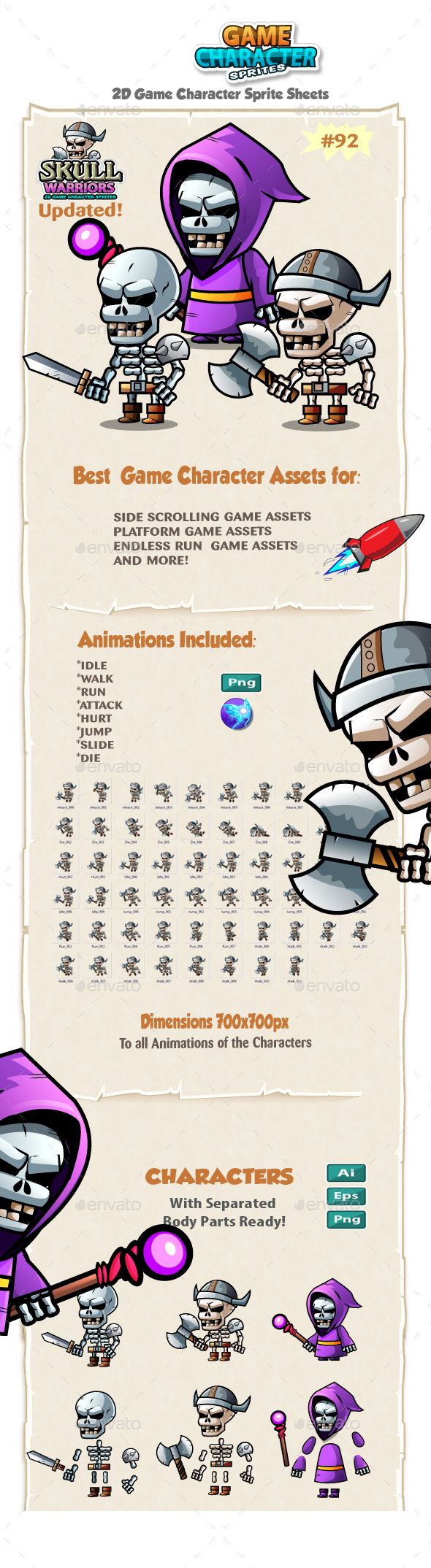 Skull Warriors 2D Game Character Sprites 92 - Sprites Game Assets