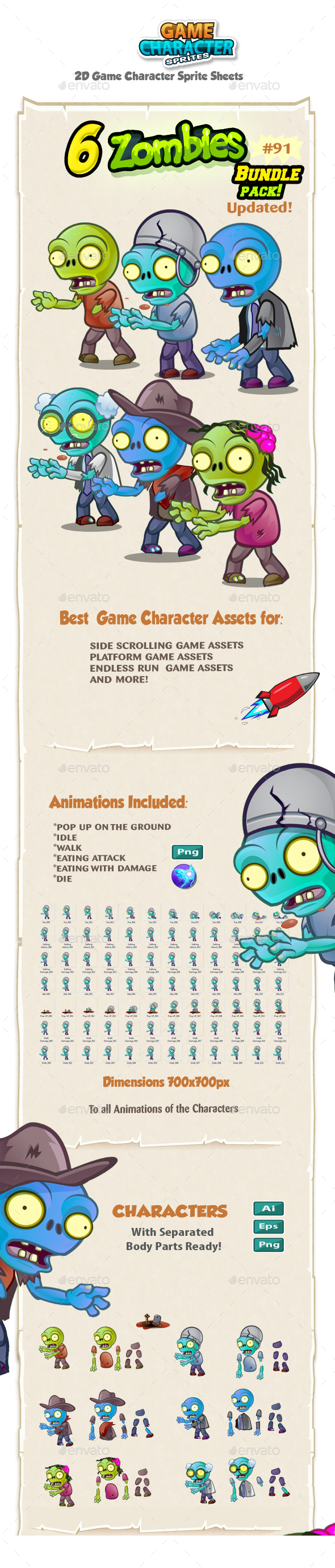 6 Zombie Characters Sprites Bundle Pack 91 - Sprites Game Assets