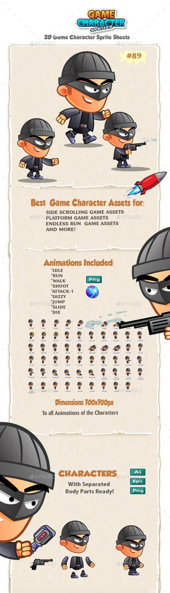 Bad Guy 2D game Character Sprites 89 - Sprites Game Assets