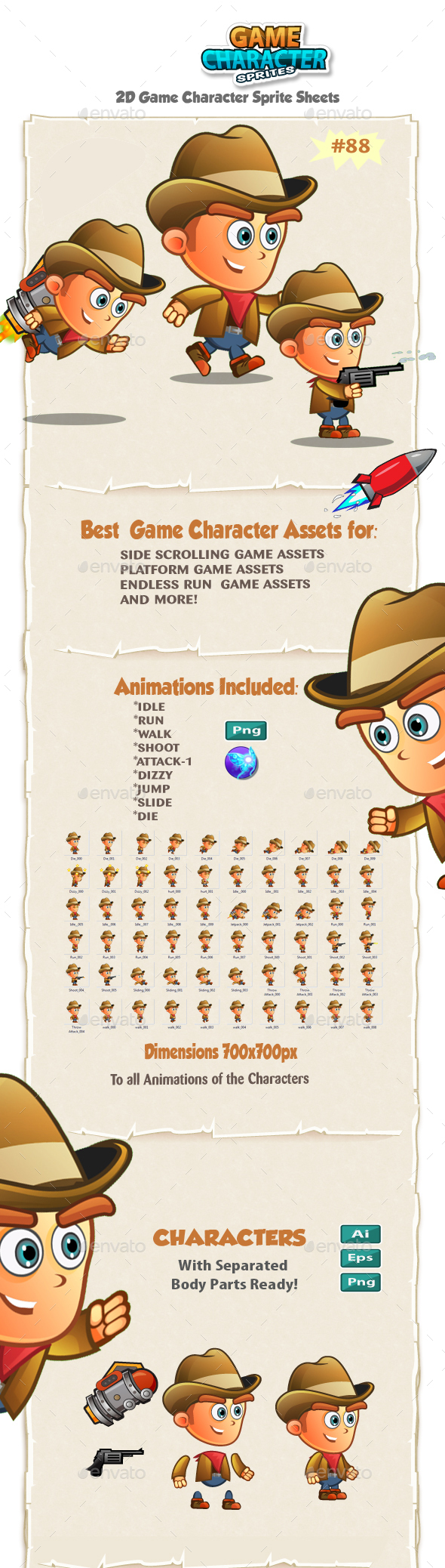 CowBoy 2D Game Character Sprites 88 - Sprites Game Assets