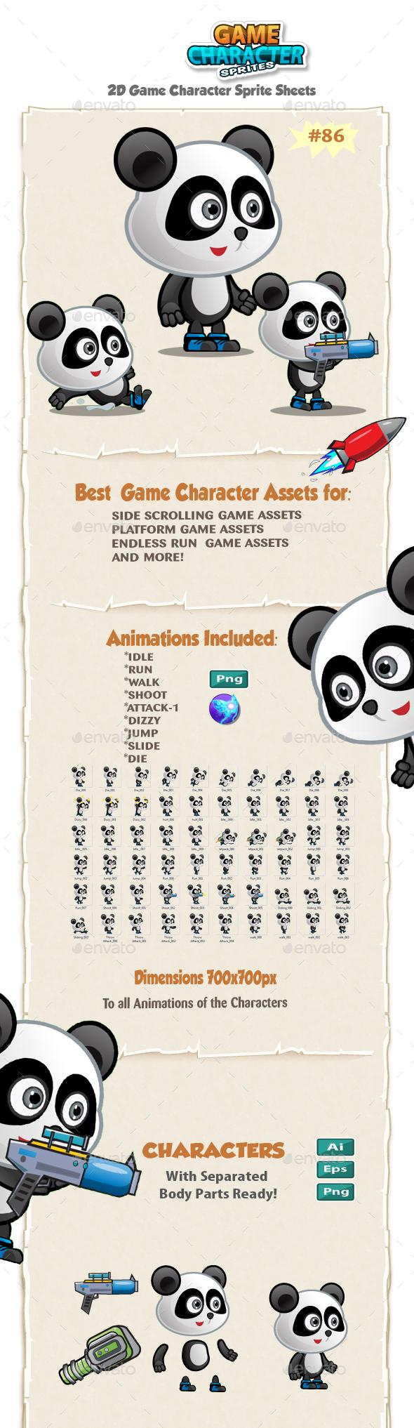 Panda 2D Game Character Sprites 86 - Sprites Game Assets