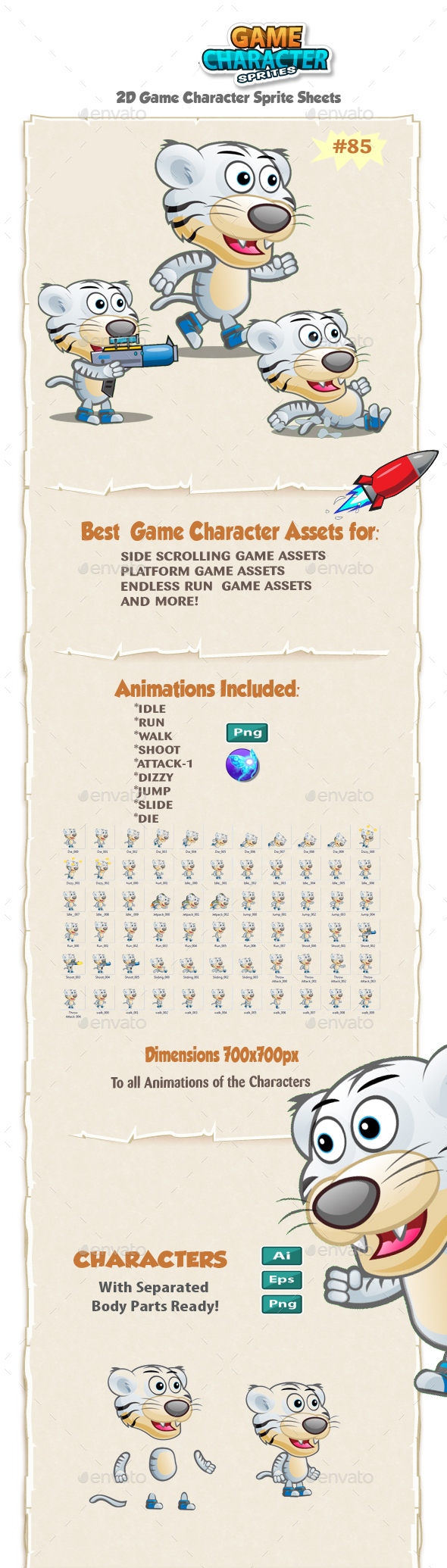 White Tiger 2D Game Character Sprites 85 - Sprites Game Assets