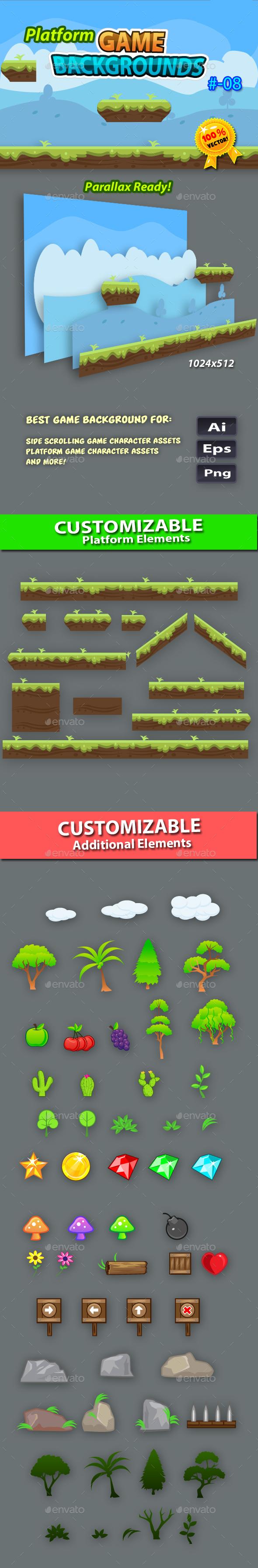 Platform Game Backgrounds 08 - Backgrounds Game Assets