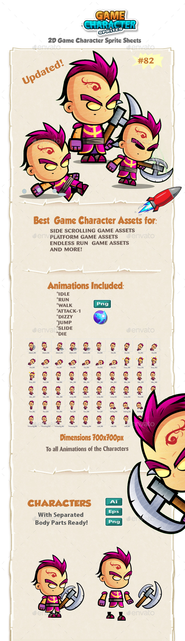 2D Game Character Sprites 82 - Sprites Game Assets