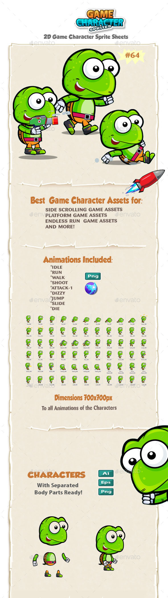 Turtle 2D Game Character Sprites 64 - Sprites Game Assets