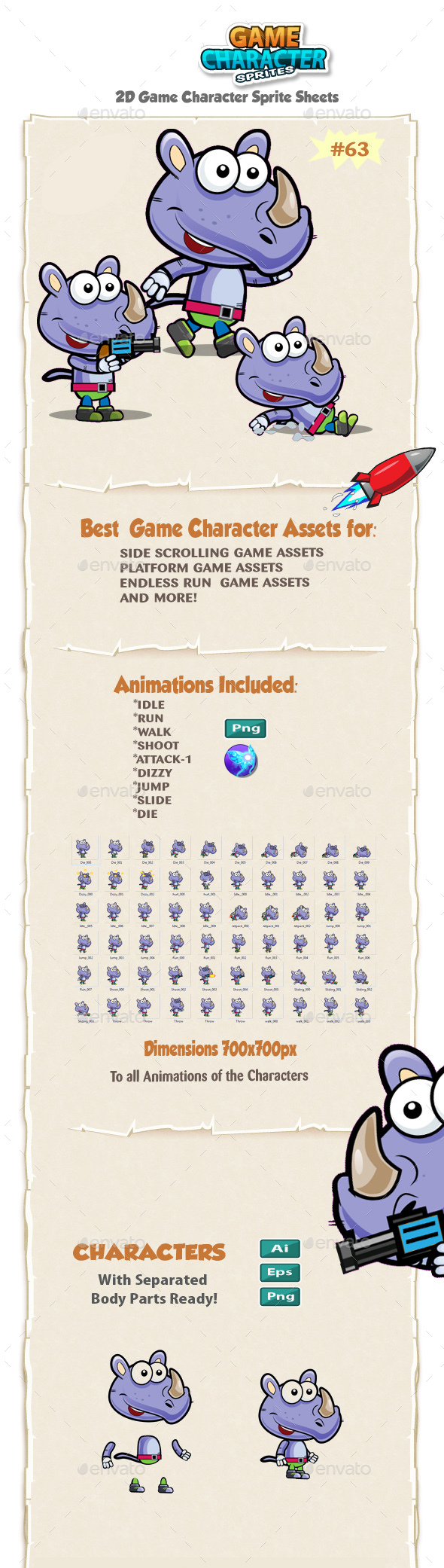 Rhino 2D Game Character Sprites 63 - Sprites Game Assets