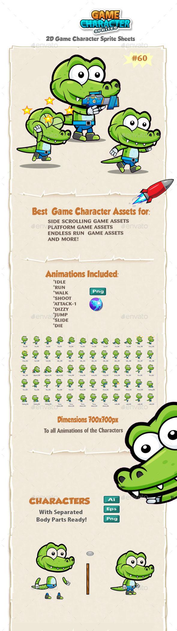 Crocodile 2D Game Character Sprites 60 - Sprites Game Assets