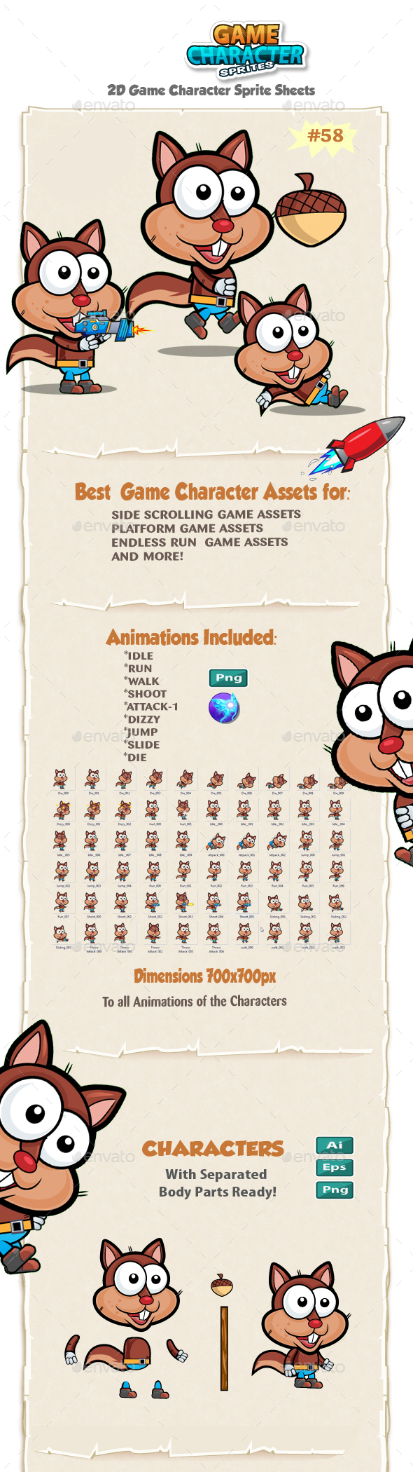Squirrel 2D Game Character Sprites 58 - Sprites Game Assets