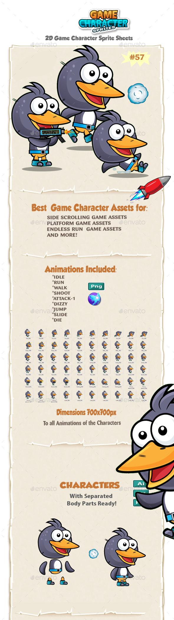 Penguin 2D Game Character Sprites 55 - Sprites Game Assets