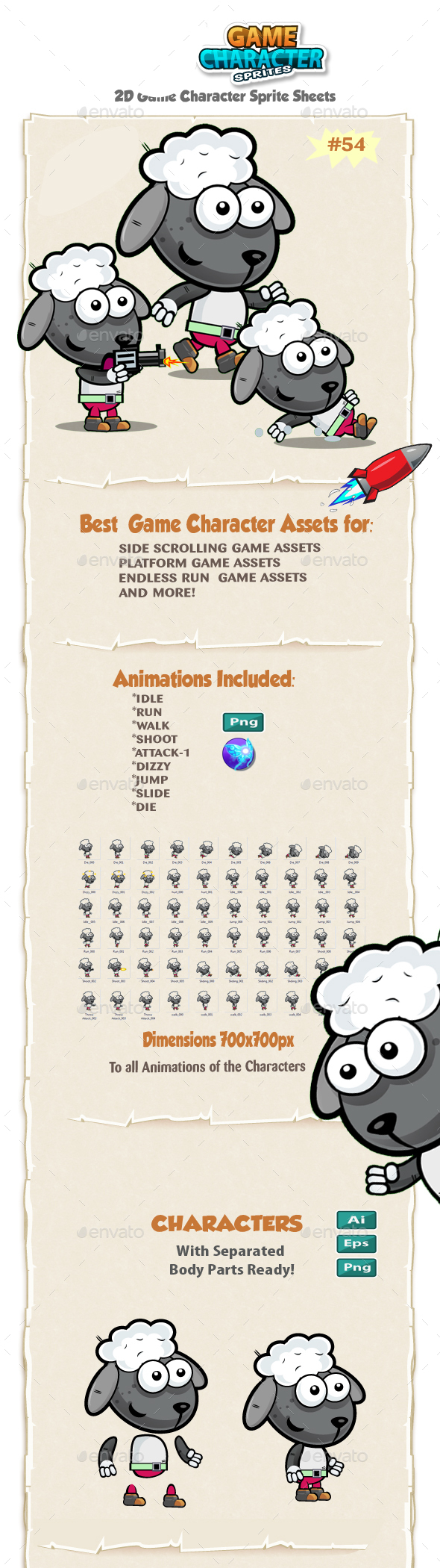 Sheep 2D Game Character Sprites 54 - Sprites Game Assets